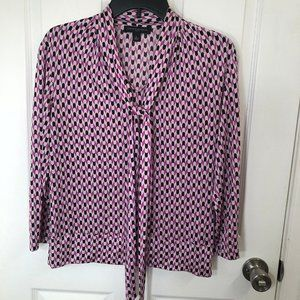 Banana Republic Silk Geometric 3/4 Sleeve Blouse
